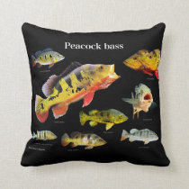Peacock bass and Eye-Spot Cichlid Throw Pillow