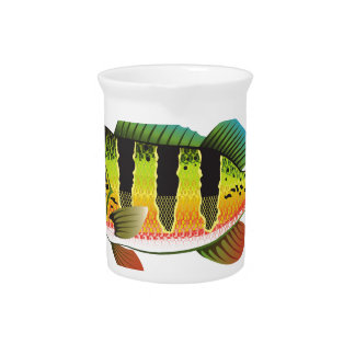 Peacock Bass bright Ocean Gamefish illustration Beverage Pitchers