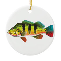Peacock Bass bright Ocean Gamefish illustration Ceramic Ornament