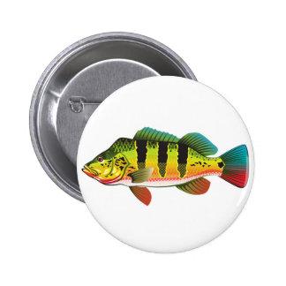 Peacock Bass bright Ocean Gamefish illustration Pinback Button