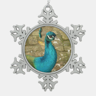 Peacock Beautiful Blue Bird Nature Photography Snowflake Pewter Christmas Ornament