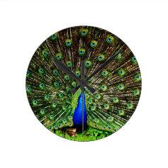 Peacock Beautiful Green Bird Animal Royal Luxury S Round Clock