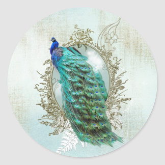 peacock beautiful turquoise vintage shabby bird classic round sticker