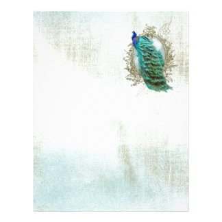 peacock beautiful turquoise vintage shabby bird letterhead