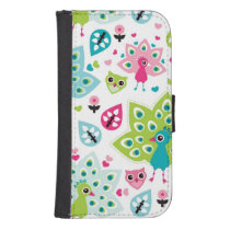 peacock bird and owl wallet phone case for samsung galaxy s4