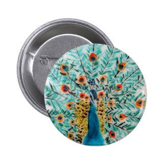 Peacock Bird Art Pinback Button