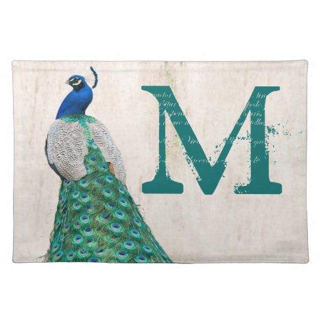Peacock Bird Feather Monogram Initial Place Mat