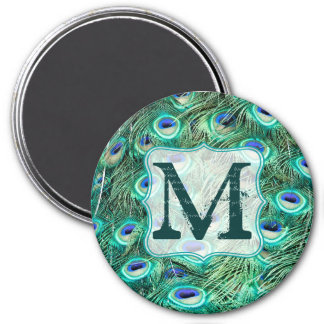 Peacock Bird Feather Teal Monogram Initial Magnet