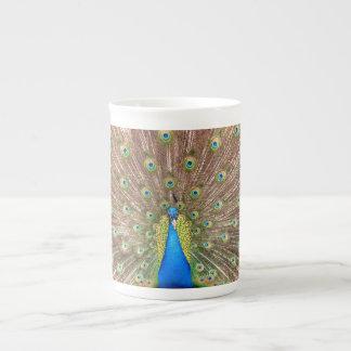 Peacock bird feathers beautiful bone china mug tea cup