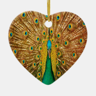 Peacock Bird Feathers Ceramic Ornament