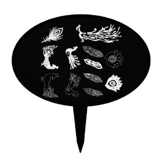 Peacock/bird feathers drawing – chalkboard look cake toppers