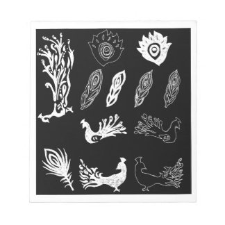 Peacock/bird feathers drawing – chalkboard look note pad