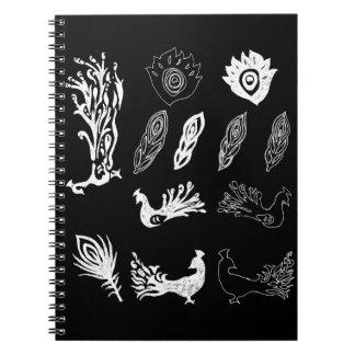 Peacock/bird feathers drawing – chalkboard look notebook