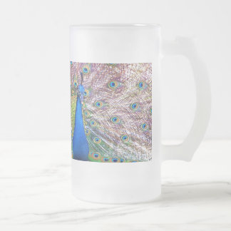 Peacock Bird Feathers Wildlife Animals Frosted Glass Beer Mug