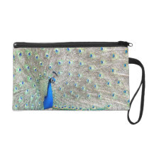Peacock Bird Wildlife Animals Feather Wristlet Bag