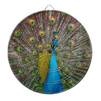 Peacock Bird with Royal Plumage on Display Dartboard