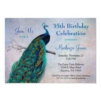 Peacock Birthday Invitation Vintage Blue Bird