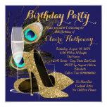 Peacock Birthday Party Custom Announcement Card