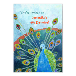 """Peacock Birthday Party Invitations for Kids 5"""" X 7"""" Invitation Card"""