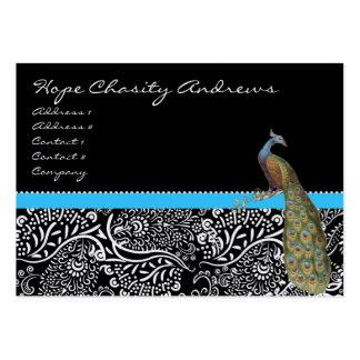 Peacock Black White Damask Bright Aqua Trim Business Card Template