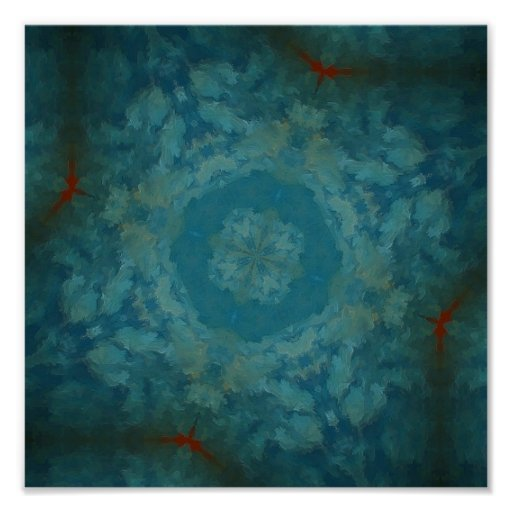 Peacock Blue Abstract Poster