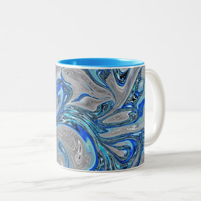 Peacock Blue and Silver Marbled Abstract