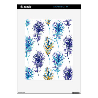 Peacock blue and violet feathers decal for iPad