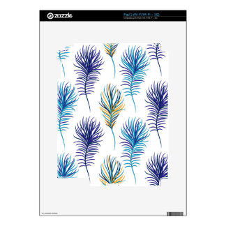 Peacock blue and violet feathers iPad 2 decal