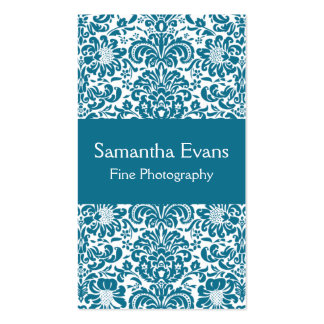 Peacock Blue and White Damask Business Card