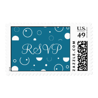 Peacock Blue and White RSVP Bubbles Postage