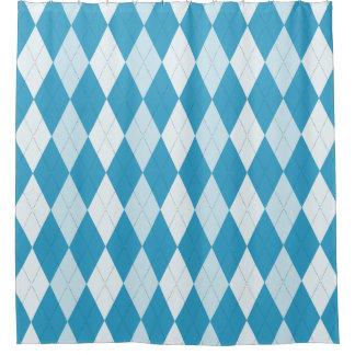 Peacock Blue Argyle Diamond Shape Shower Curtain