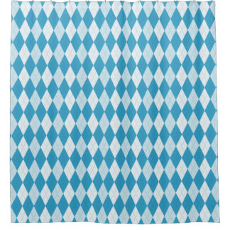 Peacock Blue Argyle Diamond Shower Curtain