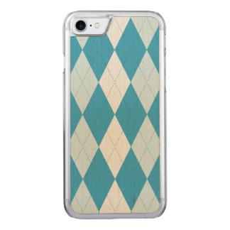 Peacock Blue Argyle Small Diamond Shape Carved iPhone 8/7 Case