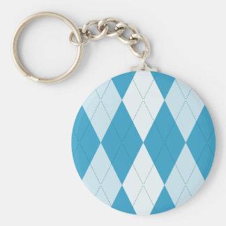 Peacock Blue Argyle Small Diamond Shape Basic Round Button Keychain
