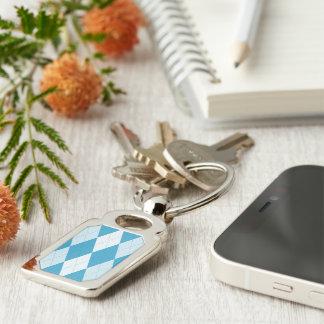 Peacock Blue Argyle Small Diamond Shape Silver-Colored Rectangular Metal Keychain
