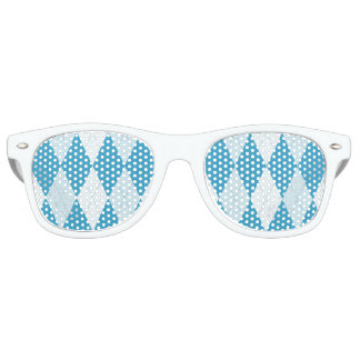 Peacock Blue Argyle Small Diamond Shape Retro Sunglasses