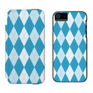 Peacock Blue Argyle Small Diamond Shape Wallet Case For iPhone SE/5/5s