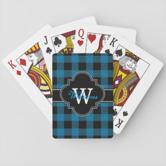 Peacock Blue Black Buffalo Check Plaid 1IQN Playing Cards