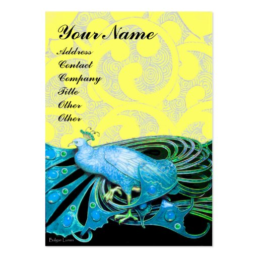 PEACOCK blue black yellow sparkles Business Card Template
