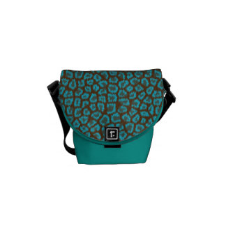 Peacock Blue & Brown Leopard Print Messenger Bag