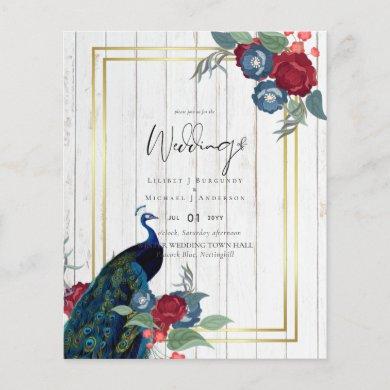 Peacock Blue Burgundy Winter Fall Wedding