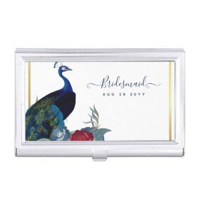 Peacock Blue Burgundy Winter Fall Wedding Business Card Case
