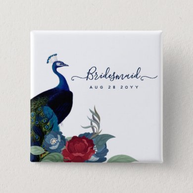 Peacock Blue Burgundy Winter Fall Wedding Button