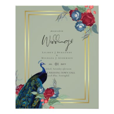 Peacock Blue Burgundy Winter Fall Wedding Flyer