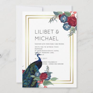 Peacock Blue Burgundy Winter Fall Wedding Invitation