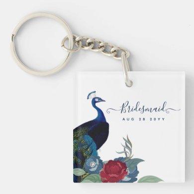 Peacock Blue Burgundy Winter Fall Wedding Keychain