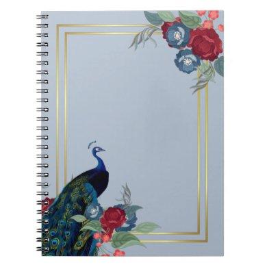 Peacock Blue Burgundy Winter Fall Wedding Notebook
