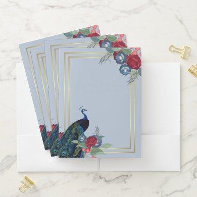 Peacock Blue Burgundy Winter Fall Wedding Pocket Folder