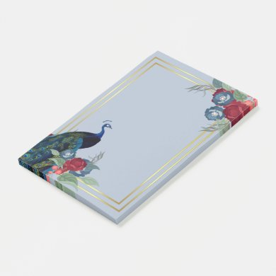 Peacock Blue Burgundy Winter Fall Wedding Post-it Notes