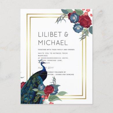Peacock Blue Burgundy Winter Fall Wedding Postcard